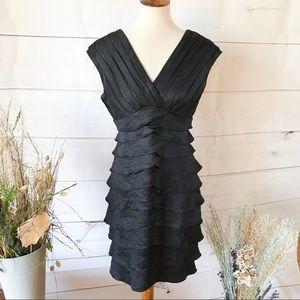 Spiegel Black V-Neck Tiered Black Cocktail Dress